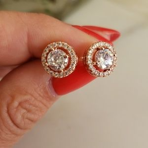 Jewelry - Round Rose Gold Earrings with Real Cubic Zirconia